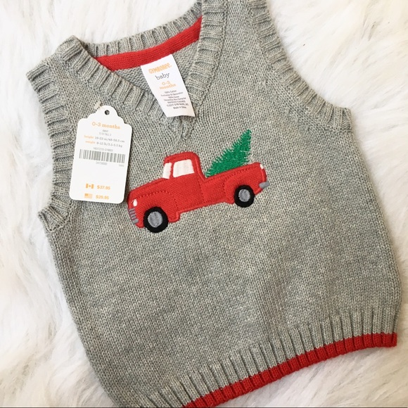 gymboree christmas truck baby boy sweater vest